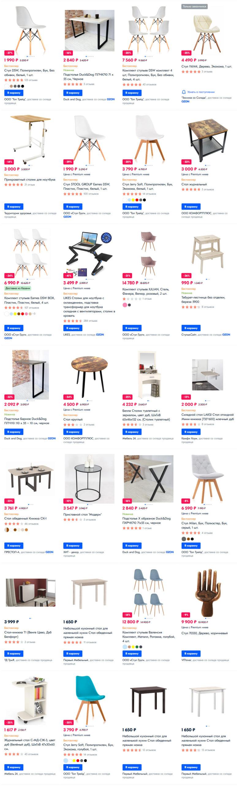 Столы и стулья в Озон