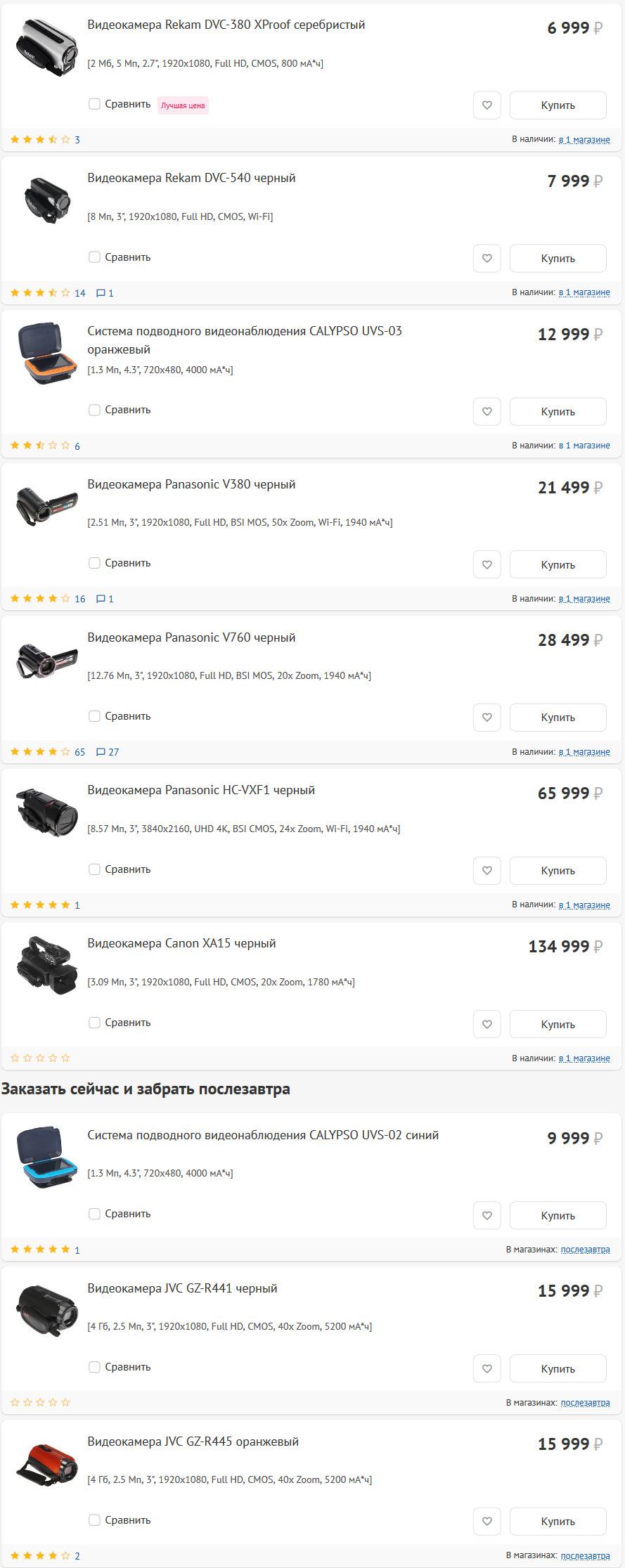 Видеокамеры в Технопоинт